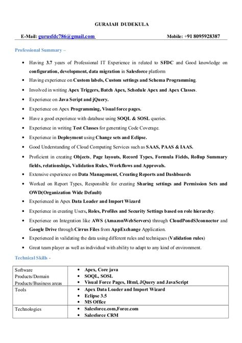 salesforce qa resume sles salesforce developer resume