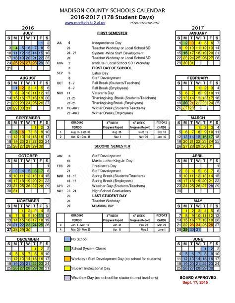 school calendar madison county schools