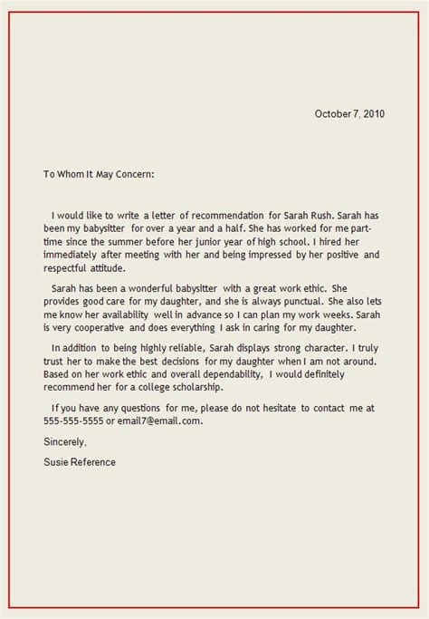 personal letter  recommendation reference letter