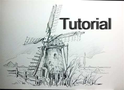 Drawing A Dutch Windmill In Pencil And Ink For Beginners
