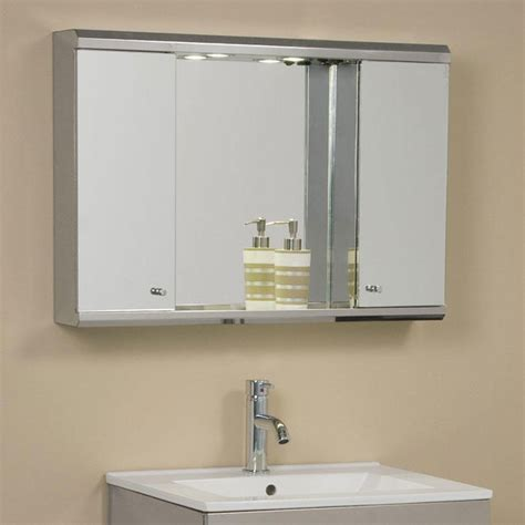 Lighted Bathroom Cabinets by Illumine Dual Stainless Steel Medicine Cabinet With