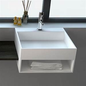 Lave Main Suspendu : lave mains suspendu 50x50 cm mati re composite mineral ~ Nature-et-papiers.com Idées de Décoration