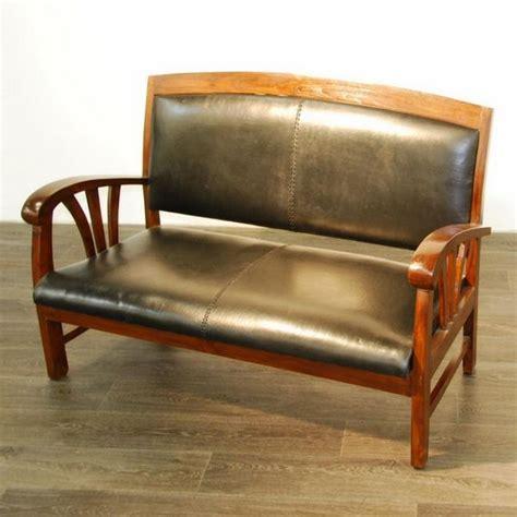 canap bois exotique canapé sofa teck et croûte de cuir 2 places