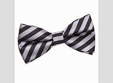 Men's Thin Stripe Black & Grey PreTied Bow Tie