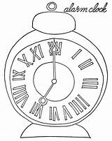 Clock Coloring Alarm Coloringsky sketch template