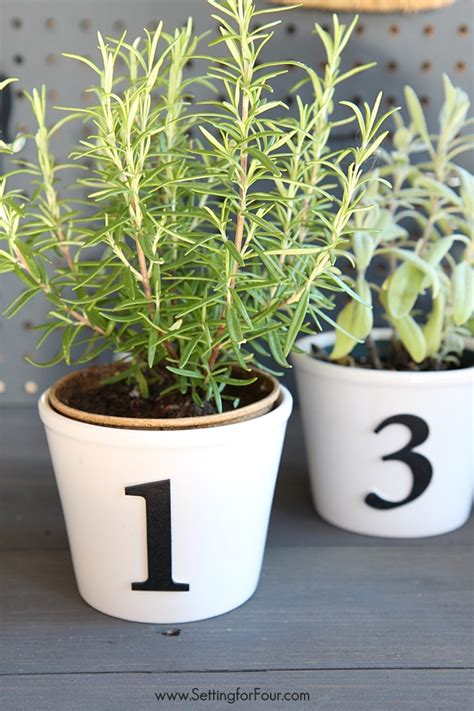 easy diy herb pots  numbers setting