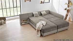 Sofa Mit Bett : wohnlandschaft links modena ecksofa sofa bett in wei grau mit nako ~ Frokenaadalensverden.com Haus und Dekorationen