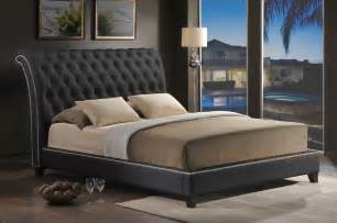 black faux leather tufted king platform bed scrollback headboard nail ebay