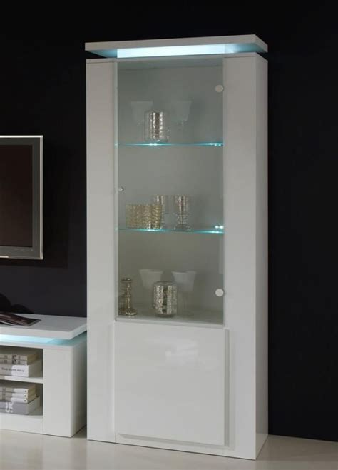 bianca modern tall display cabinet  lights  white