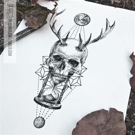 skull hourglass mandala astronomy tattoo design