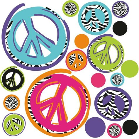 zebra peace signs  big wall stickers room decor decals