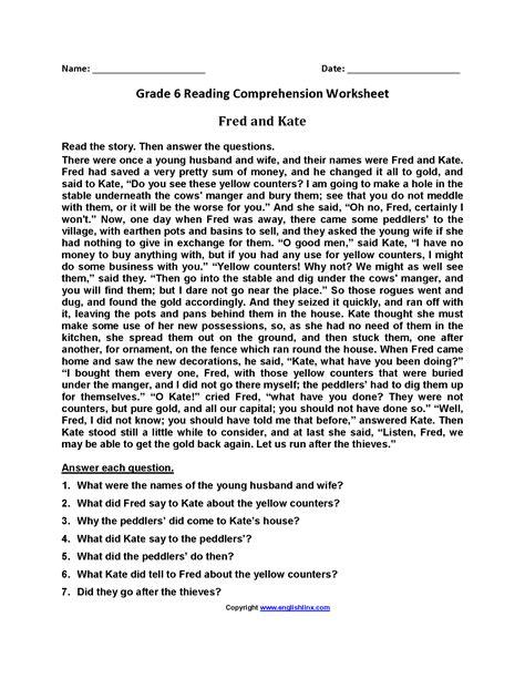 Comprehension Worksheets 6th Grade  Kidz Activities