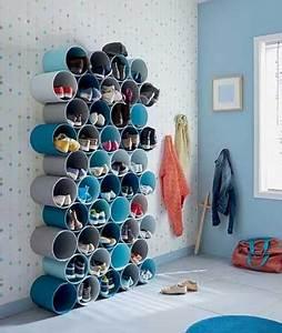 Rangement pour chaussures a fabriquer avec tubes pvc peints for Attractive comment faire la couleur orange en peinture 12 8 astuces rangement pas cher pour la maison