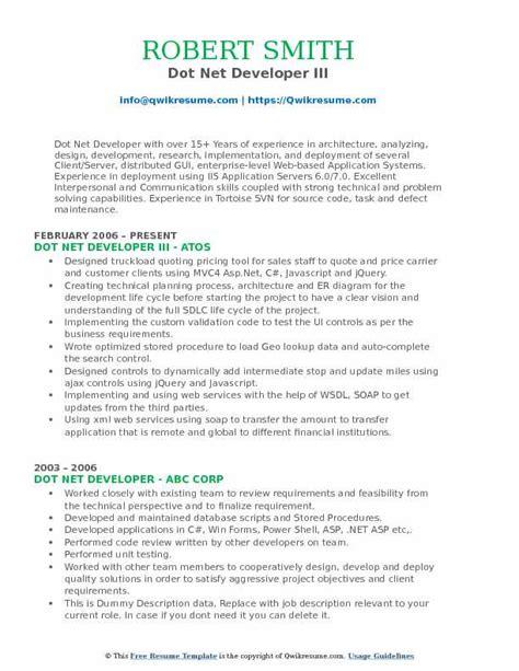 Ui Developer Resume Pdf by Dot Net Developer Resume Sles Qwikresume