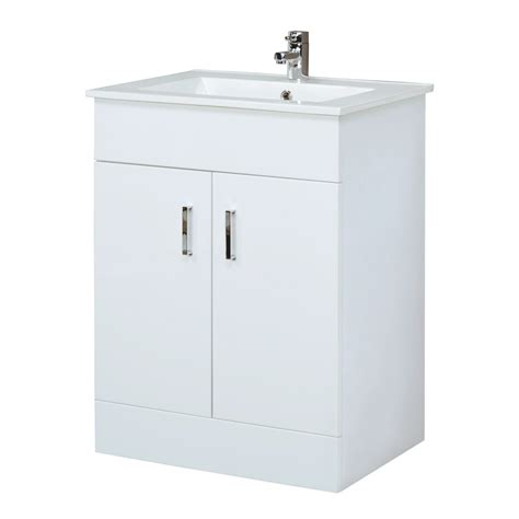 bathroom vanity white gloss unit basin sink cabinet