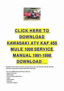 Kawasaki Atv Kaf 450 Mule 1000 Service Manual 1991-1998 Download By Cycle Soft