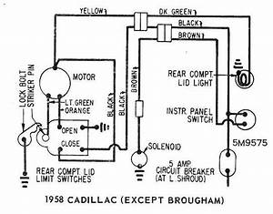 Trunk Locks Wiring Diagram Schematics 1958 Cadillac  Except Brougham