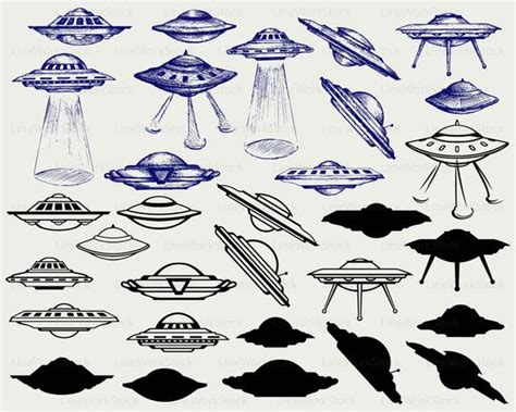 Space flying saucer ufo svg/ufo clipart/flying saucer | Etsy