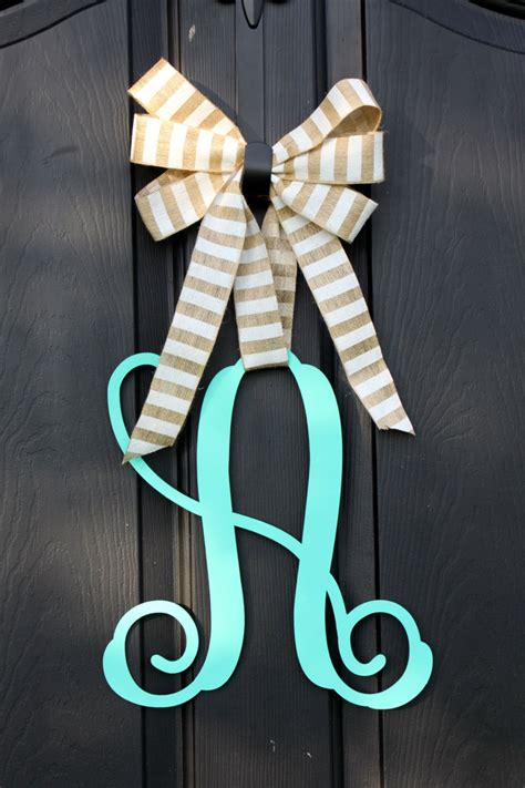 wooden monogram wooden door hanger wreath etsy  oursentiments