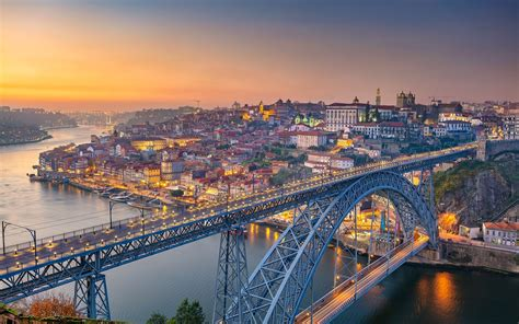 wallpaper portugal porto river bridge city morning