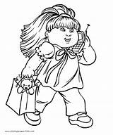 Cabbage Patch Coloring Pages Cartoon Doll Printable Sheets Character Clipart Characters Phoning Colouring Kid Walking Child Sheet While Activity Children sketch template