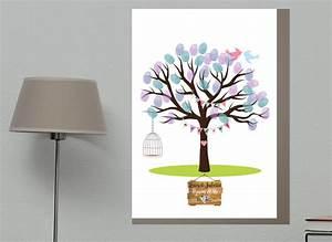 Cadeau De Mariage Original : arbre empreintes mariage oiseaux cadeau de mariage ~ Melissatoandfro.com Idées de Décoration