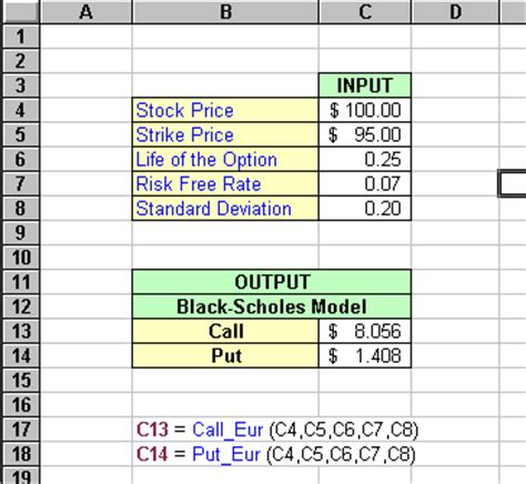 vba black scholes option pricing model
