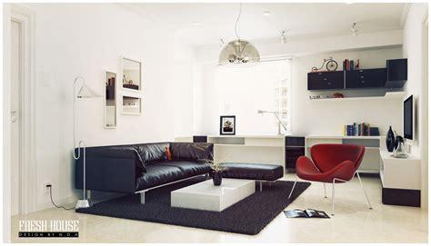 black white living room red accents design olpos design