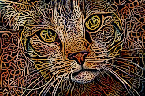 Celtic Knot Tabby Cat Digital Art by Peggy Collins