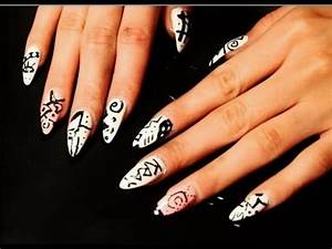 Tribal Nail Tutorial! Stiletto Nails! - YouTube