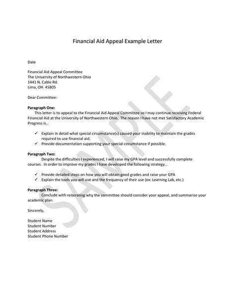 financial aid appeal letter templates