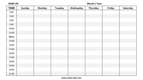 blank weekly calendar templates printable weekly