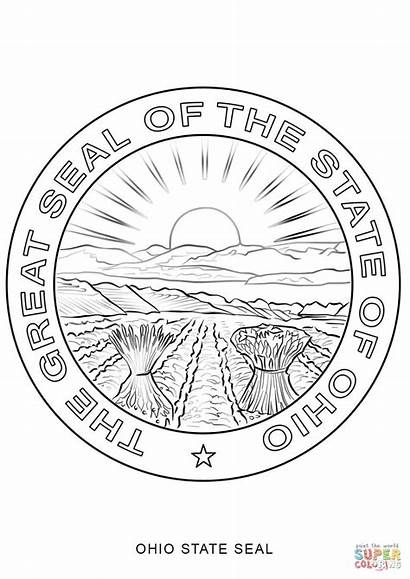 Ohio Seal State Coloring Pages Printable Drawing