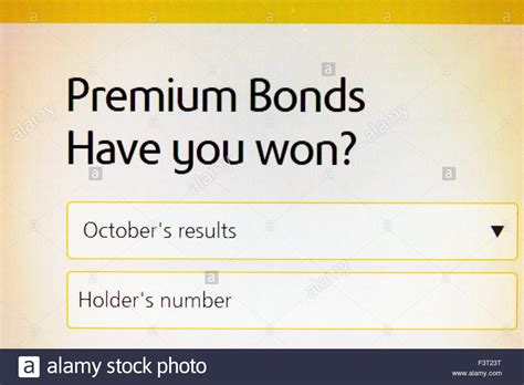 Premium on bonds payable (or bond premium) occurs when bonds payable are issued for an amount greater than their face or maturity amount. Premium Bonds results website homepage online screen screenshot web Stock Photo: 88424332 - Alamy