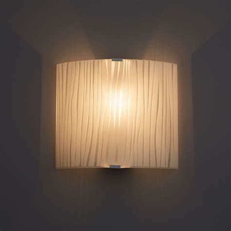 zebra stripe white frosted effect wall light departments diy at b q