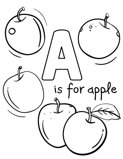 Free A Is for Apple Coloring Page
