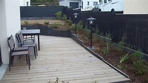 Terrasse Avec Muret : terrasse bois mur muret plantation gazon parement ~ Premium-room.com Idées de Décoration