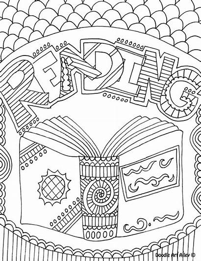 Library Coloring Reading Pages Classroom