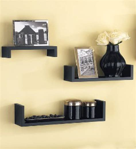 Home Wall Shelves by Set Of 3 Mango Wood Wall Shelves By Home Sparkle
