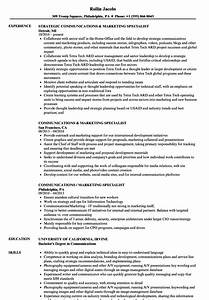 Communications  U0026 Marketing Specialist Resume Samples