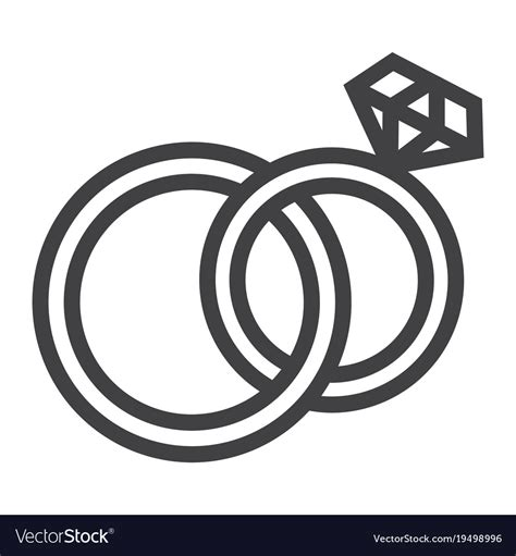 wedding rings line icon valentines day royalty free vector