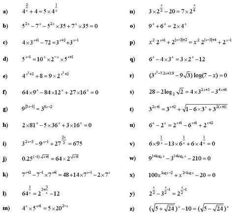solving exponential and logarithmic equations worksheet