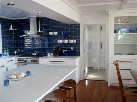 blue tile backsplash kitchen cobalt blue backsplash kitchen contemporary with subway