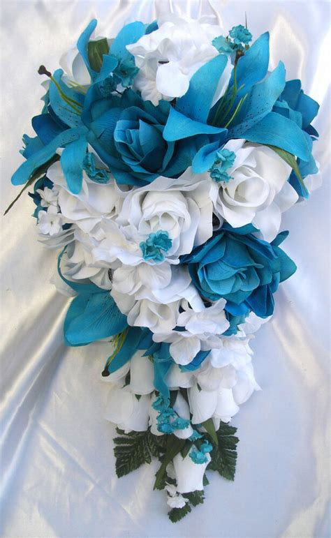 pieces bridal bouquet wedding silk flowers decoration