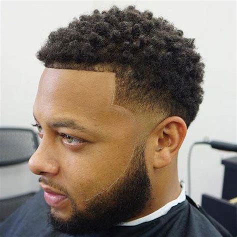 black mens haircuts  taper fade short curls