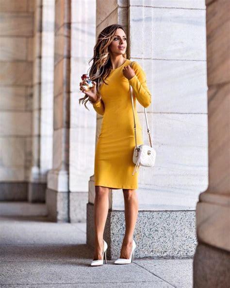 Dress tumblr midi dress yellow yellow dress long sleeves long sleeve dress pumps pointed ...
