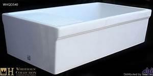 whitehaus whqd540 w 36 inch quatro alcove reversible With 36 inch white fireclay farmhouse sink