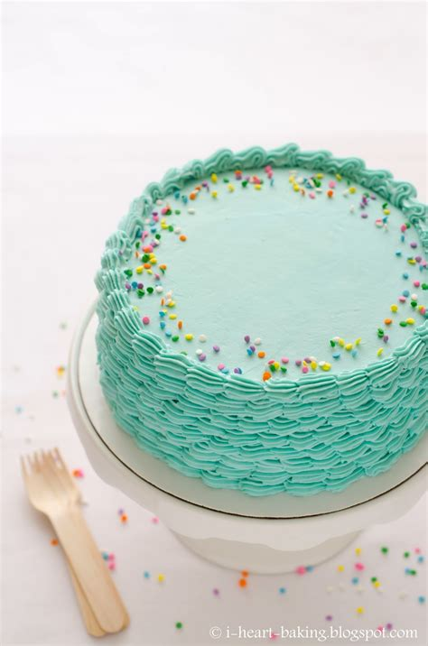 I Heart Baking! Blue Funfetti Birthday Cake With Piped
