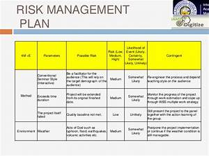risk plan in project management it business continuity With event risk management template