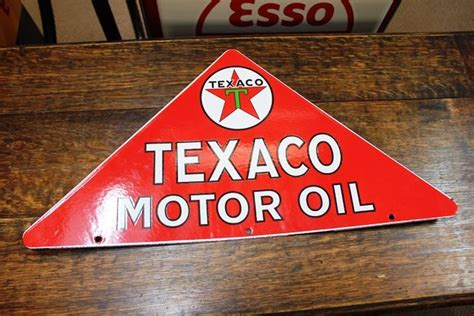 reproduction texaco double sided triangle enamel sign xxxx antique complex